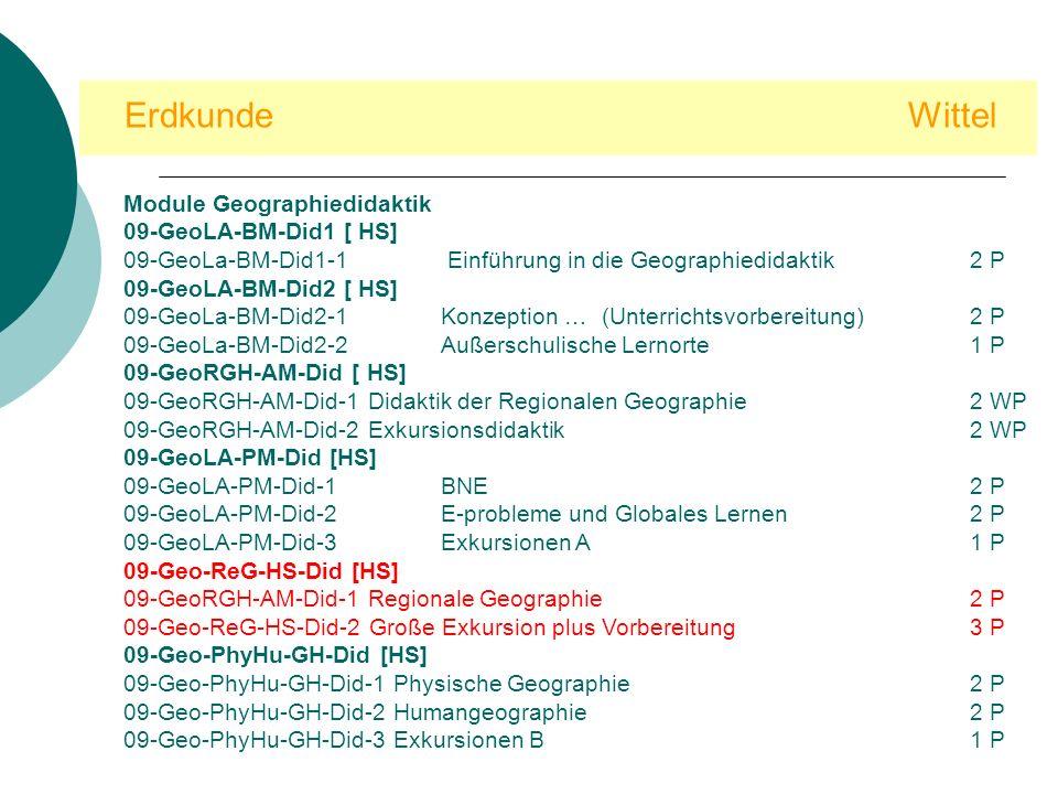 Erdkunde Wittel Module Geographiedidaktik 09-GeoLA-BM-Did1 [ HS]
